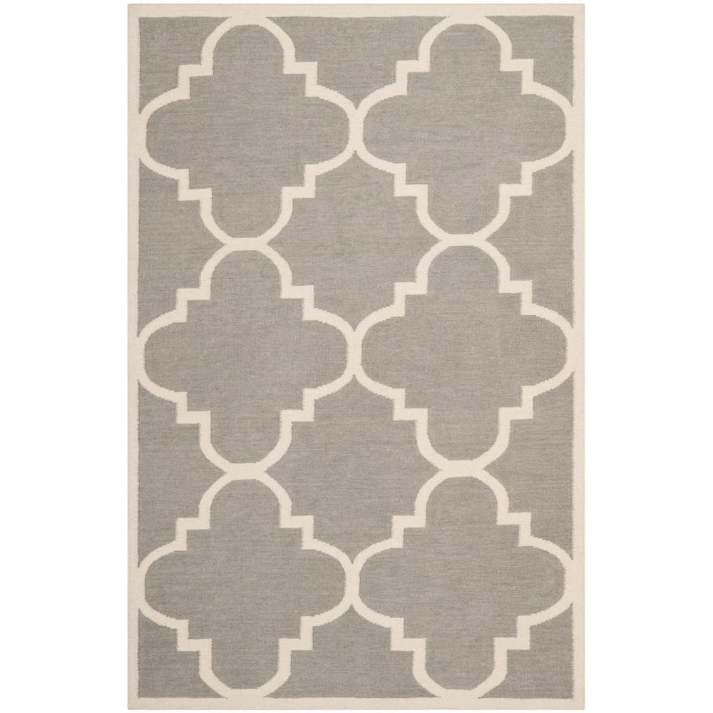Safavieh Dhurries Grey/Ivory 4 ft. x 6 ft. Area Rug