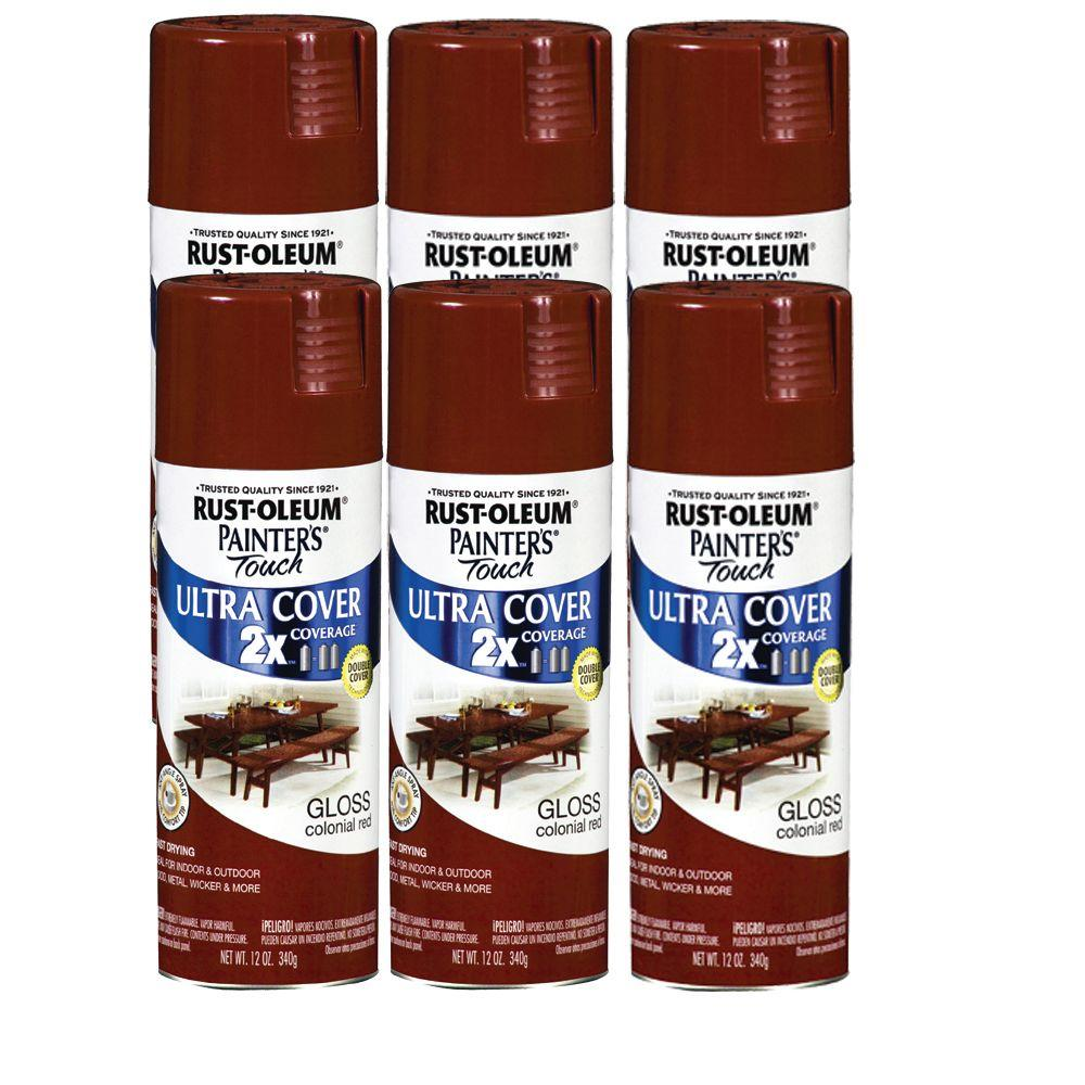 Painter's Touch 12 oz. Gloss Colonial Red Spray Paint (6-Pack)-DISCONTINUED