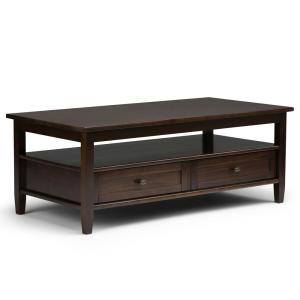 Warm Shaker Solid Wood 48 in. Wide Rustic Coffee Table in Tobacco Brown