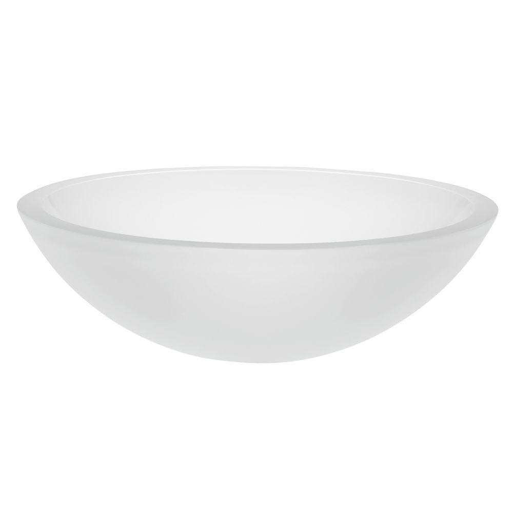 DECOLAV Translucence Vessel Sink In Frosted Glass Crystal