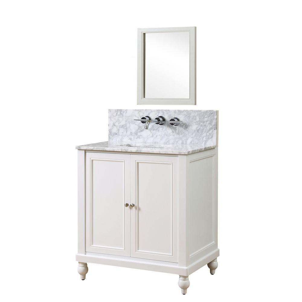 Direct vanity sink Classic Premium 32 in. Vanity in Pearl White with Marble Vanity Top in White Carrara with White Basin and Mirror