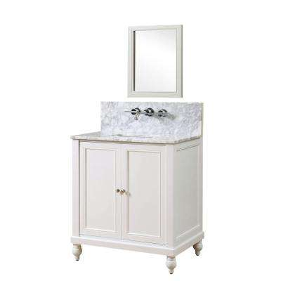 Classic Premium 32 in. Vanity in Pearl White with Marble Vanity Top in White Carrara with White Basin and Mirror