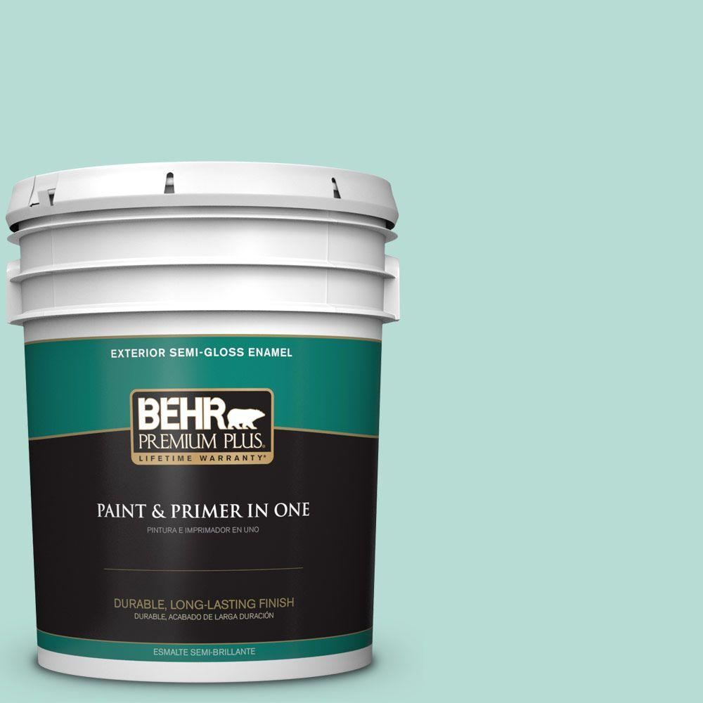 5-gal. #490C-3 Balmy Seas Semi-Gloss Enamel Exterior Paint
