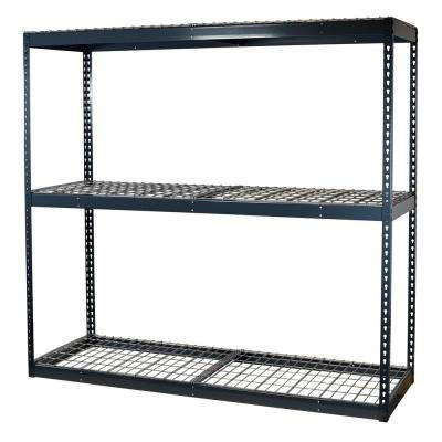 84 in. H x 72 in. W x 24 in. D 3-Shelf Steel Boltless Shelving Unit with Double Rivet Shelves and Wire Mesh Decking