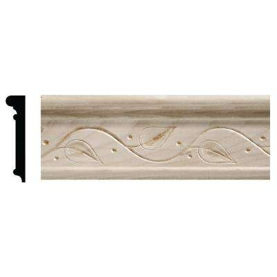 1925 9/16 in. x 2-1/2 in. x 96 in. White Hardwood Embossed Ivy Chair Rail Moulding