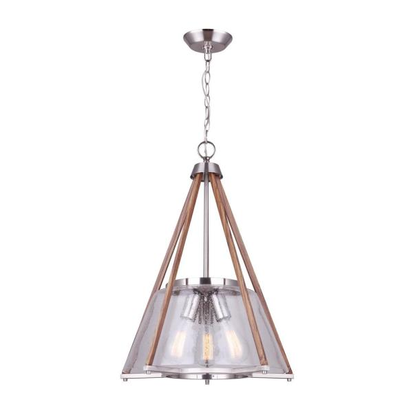 Dex 3-Light Brushed Nickel and Faux Wood Chandelier with Seeded Glass Shade