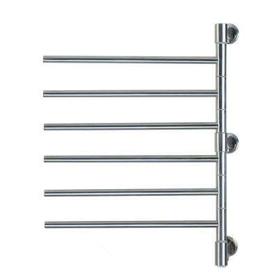 Swivel Jack Large 6-Bar Plug-in Electric Towel Warmer in Polished Stainless Steel