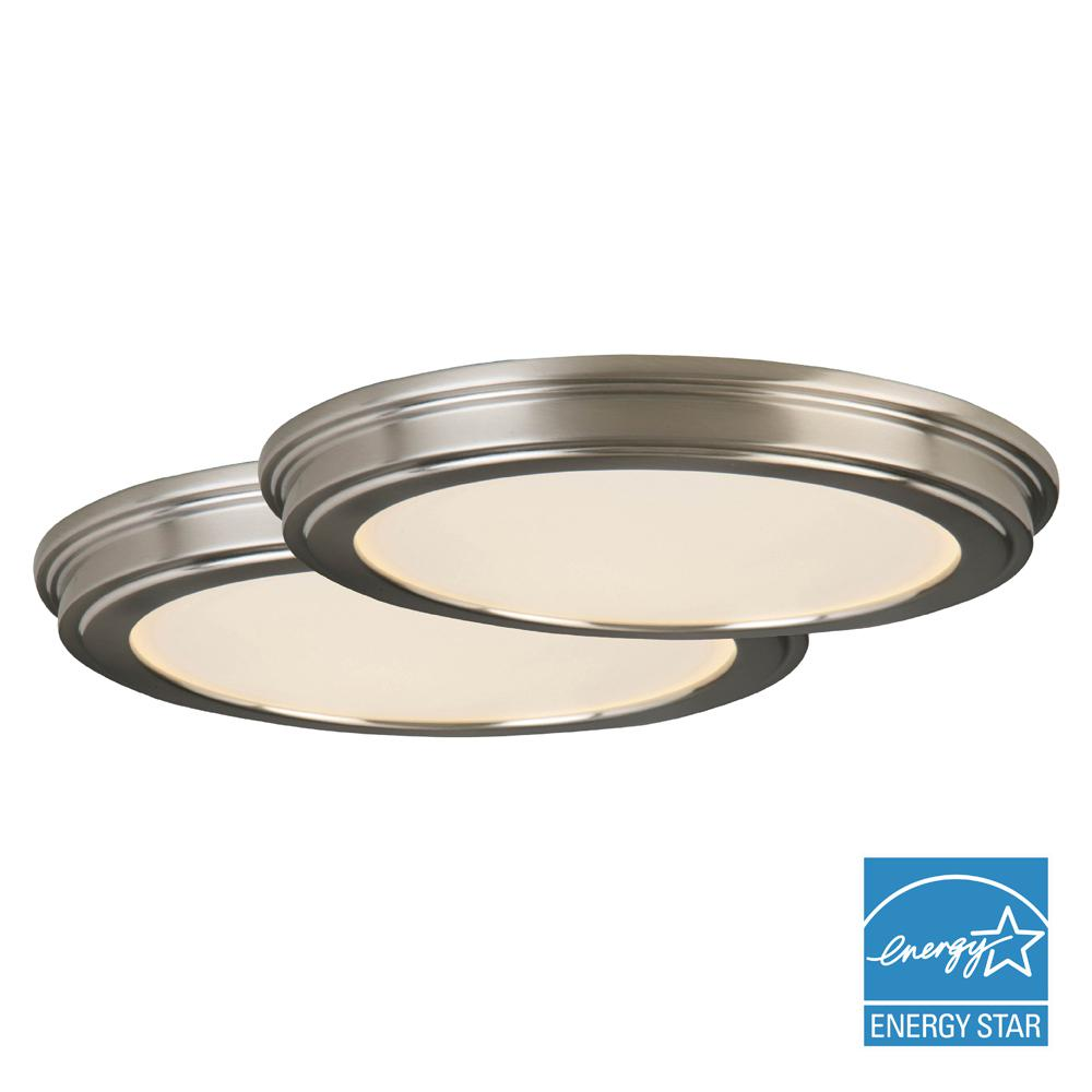 Flushmount lights lighting the home depot 24 watt brushed nickel integrated led ceiling flushmount 2 pack aloadofball Image collections
