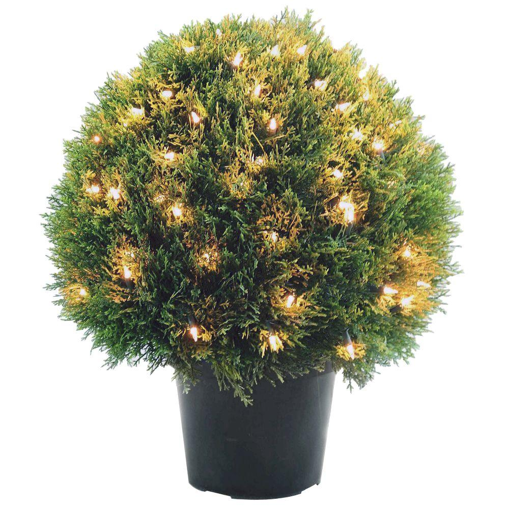 Cedar Pine Topiary With Round Green Growers Pot 100 Clear Lights Lcpt4 304 24 The Home Depot