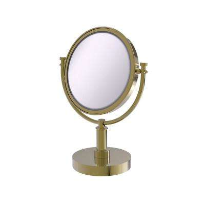 15 in. x 8 in. Vanity Top Make-Up Mirror 4x Magnification in Unlacquered Brass