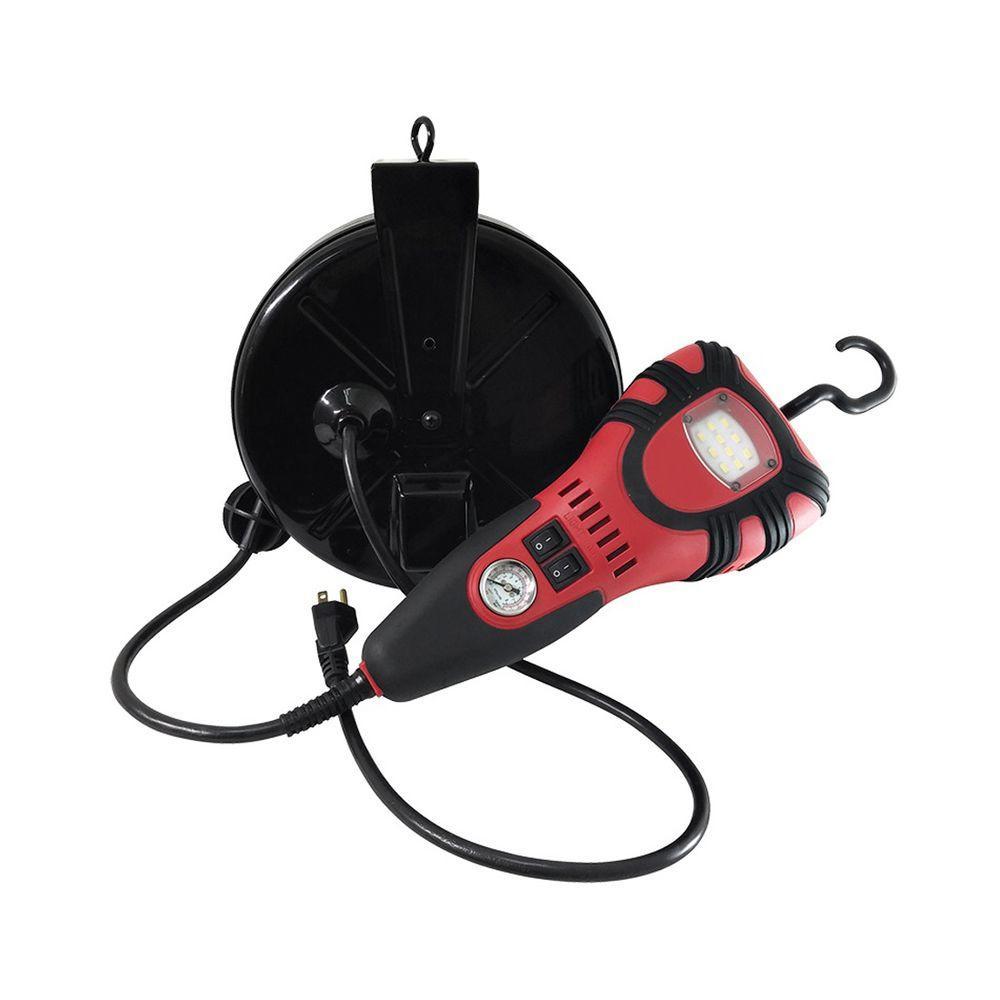 25 ft. 16/3 Extension Cord Reel with 450-Lumen Plastic LED Handheld Work Light