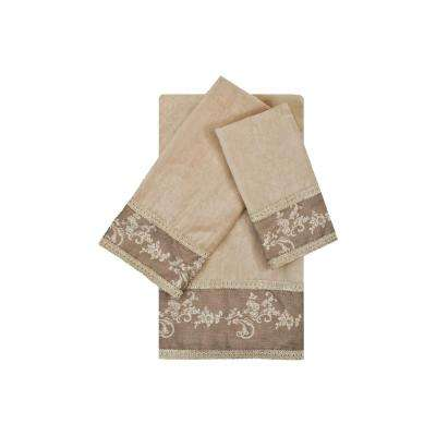 Winchester Taupe Embellished Towel Set (3-Piece)