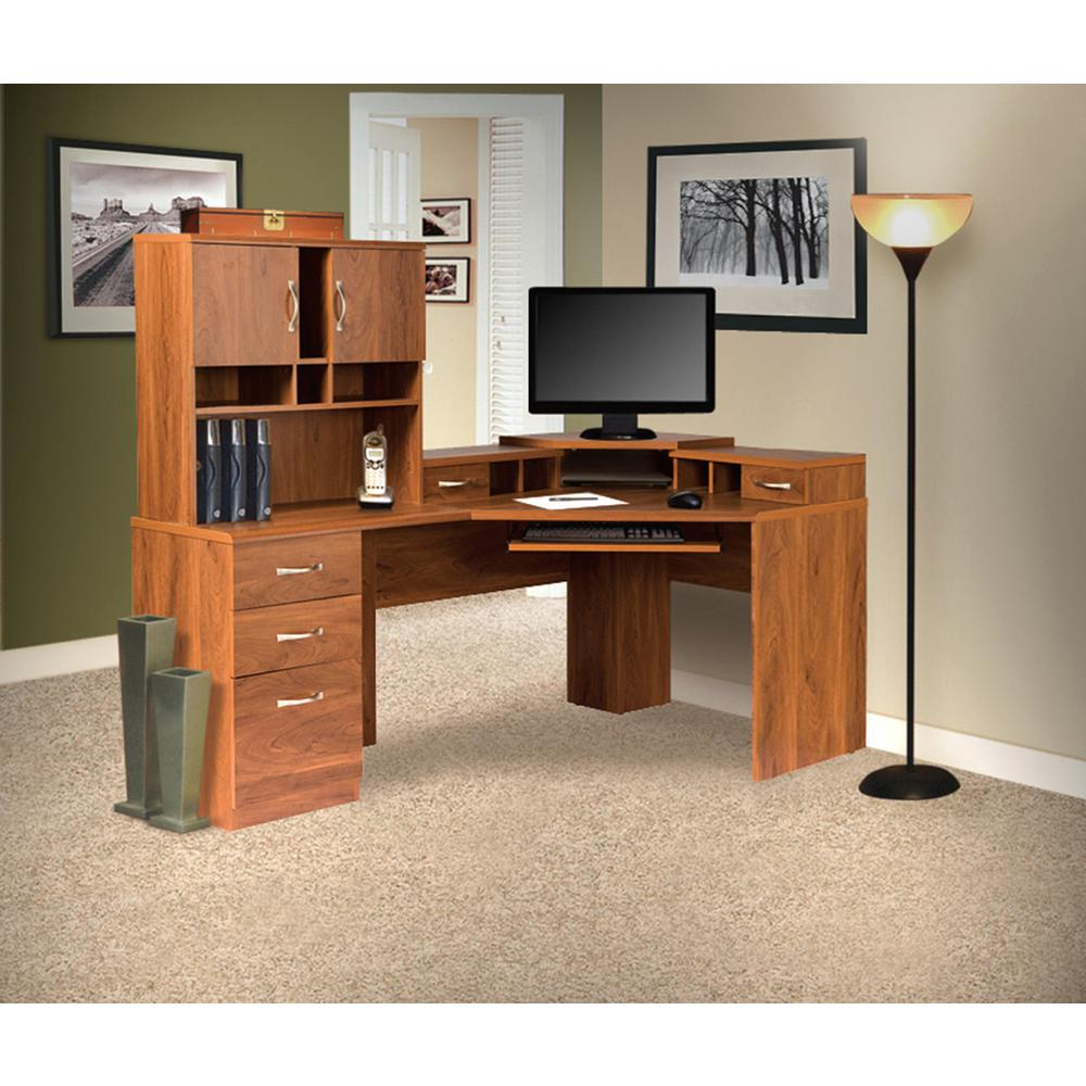 OS Home And Office Furniture Brown Reversible Corner Work Center And Hutch  With Monitor Platform
