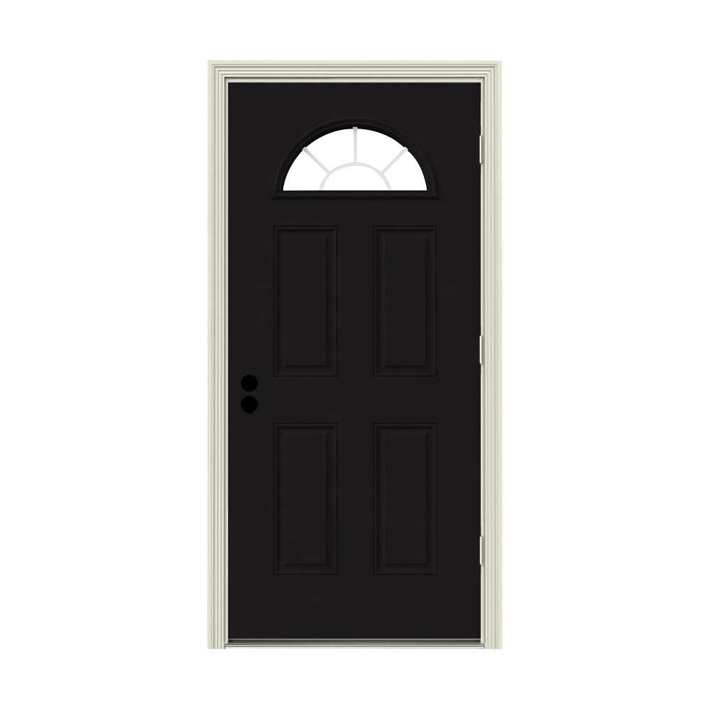 36 in. x 80 in. Fan Lite Black Painted Steel Prehung Left-Hand Outswing Front Door w/Brickmould