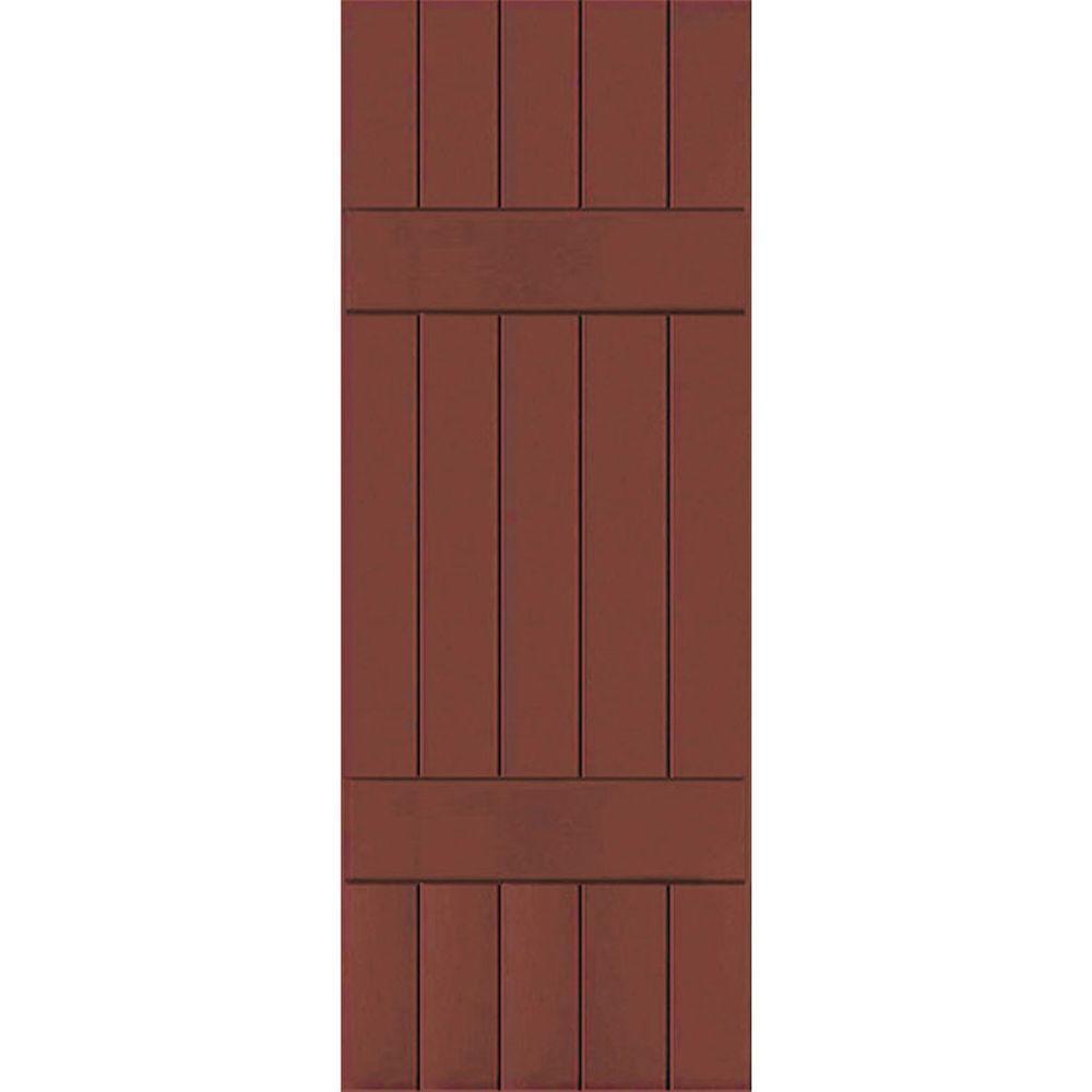 Ekena Millwork 18 in. x 36 in. Exterior Real Wood Pine Board & Batten Shutters Pair Country Redwood