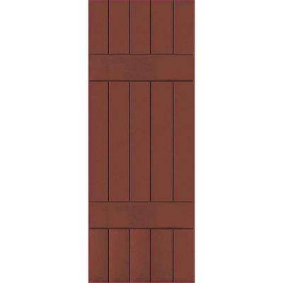 18 in. x 68 in. Exterior Real Wood Pine Board and Batten Shutters Pair Country Redwood