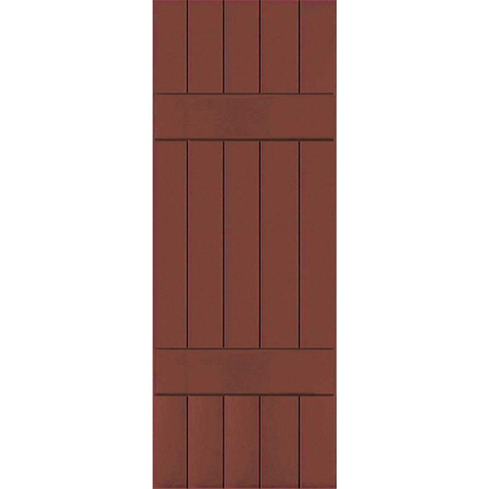 Ekena Millwork 18 in. x 50 in. Exterior Real Wood Sapele Mahogany Board and Batten Shutters Pair Country Redwood