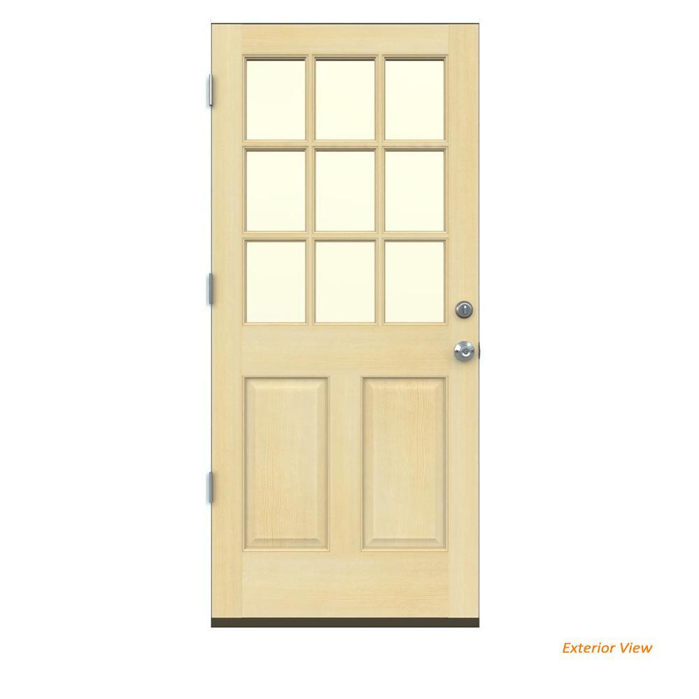 Jeld Wen 30 In X 80 In Woodgrain 2 Panel Full Louver: Masonite 36 In. X 80 In. 9 Lite Unfinished Fir Front Door