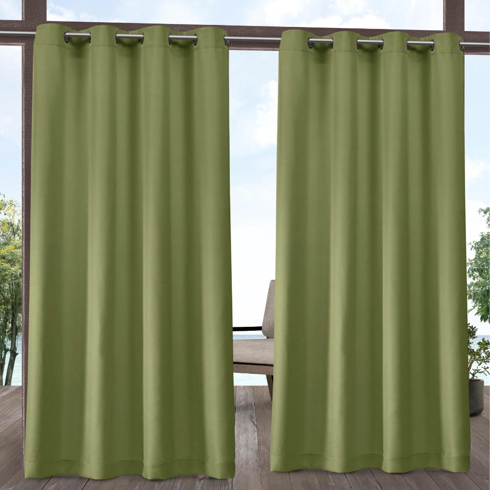 Exclusive Home Curtains Indoor Outdoor Solid 54 in. W x 84 in. L Grommet Top Curtain Panel in Kiwi Green (2 Panels)
