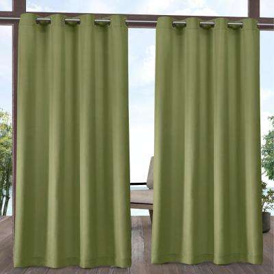 Indoor/Outdoor Solid Cabana Grommet Top Curtain Panel Pair in Kiwi Green - 54 in. W x 84 in. L (2-Panel)