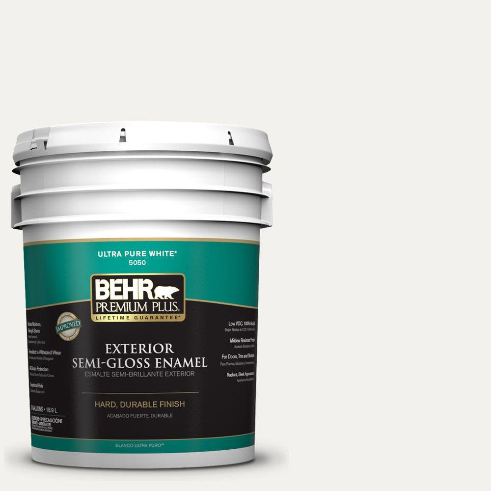 BEHR Premium Plus 5-gal. #W-F-600 Snow Fall Semi-Gloss Enamel Exterior Paint