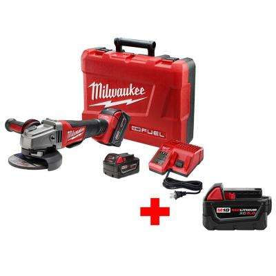 M18 FUEL 18-Volt Lithium-Ion Cordless Brushless 4-1/2 in./5 in. Grinder No-Lock with Free M18 18-Volt XC 5.0Ah Battery