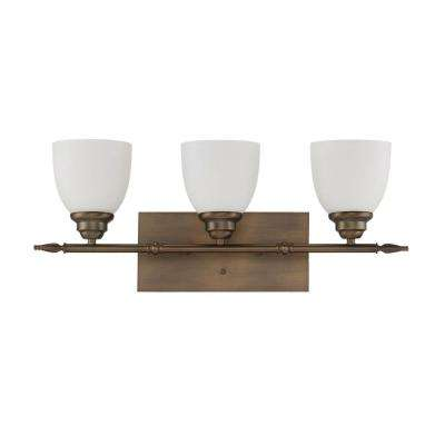 Bistro 3-Light Aged Brass Bath Light