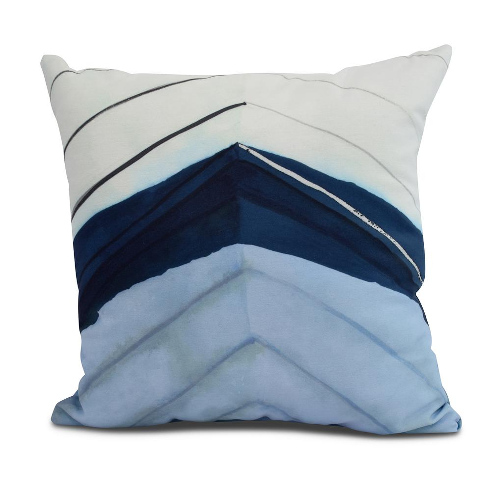 Boat Bow Center 18 in. Blue Decorative Nautical Throw Pillow