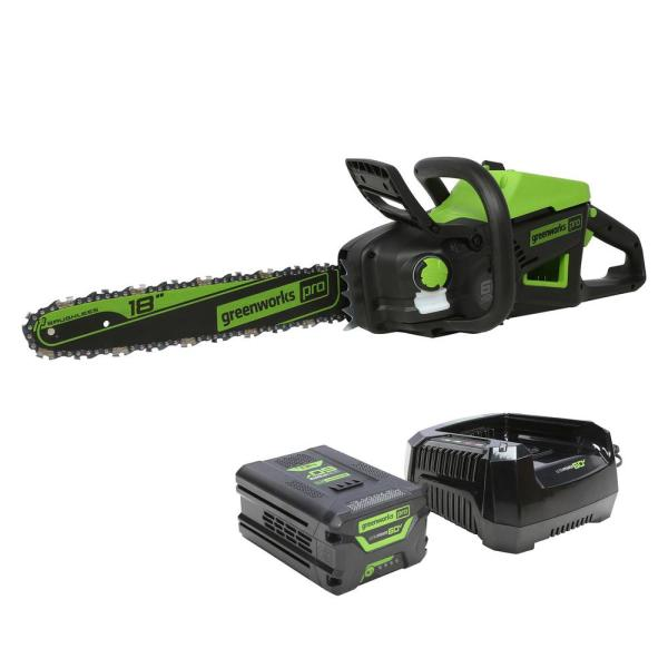 PRO 18 in. 60-Volt Cordless Chainsaw with 4.0 Ah Battery and 6 Amp Charger Included