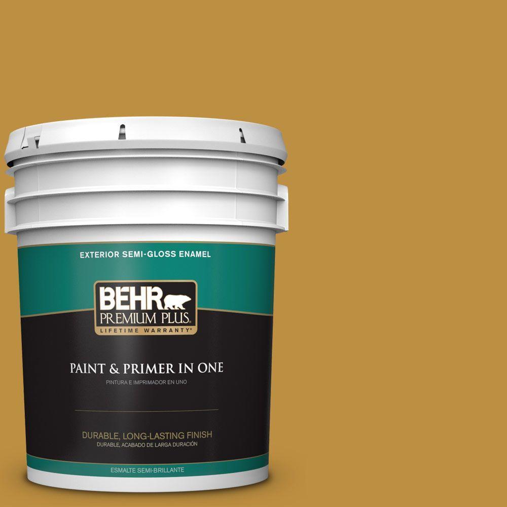 BEHR Premium Plus 5-gal. #340D-6 Fervent Brass Semi-Gloss Enamel Exterior Paint