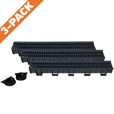 Deep Series 5.4 in. W x 5.4 in. D x 39.4 in. L Trench and Channel Drain Kit with Black Grate (3-Pack : 9.8ft)