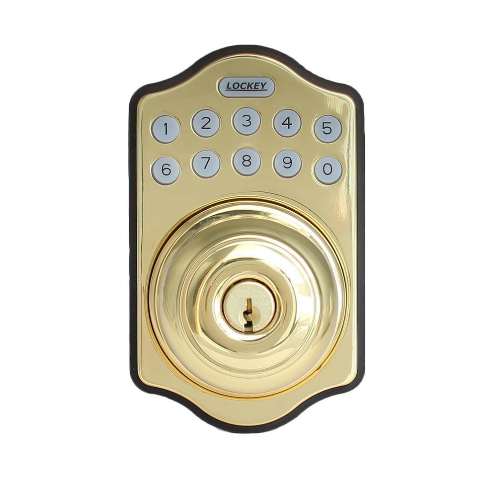 E-Digital E-930 Bright Brass Single Cylinder Entry Keypad Electronic Door Knob with Latch Lock