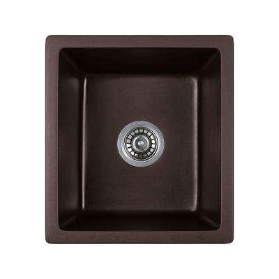 Titan Dual Mount Quartz 18 in. Single Bowl Kitchen Sink in Chocolate with Strainer