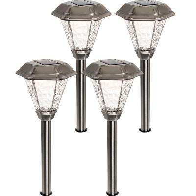 Adonis Solar Powered Integrated LED Stainless Steel Path Lights (4-Pack)