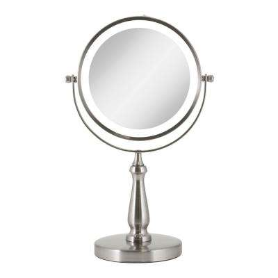 7.75 in. x 12.5 in Cordless Round LED Lighted Dual Sided Vanity Makeup Mirror in Satin Nickel