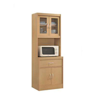 China Cabinet Beech with Microwave Shelf