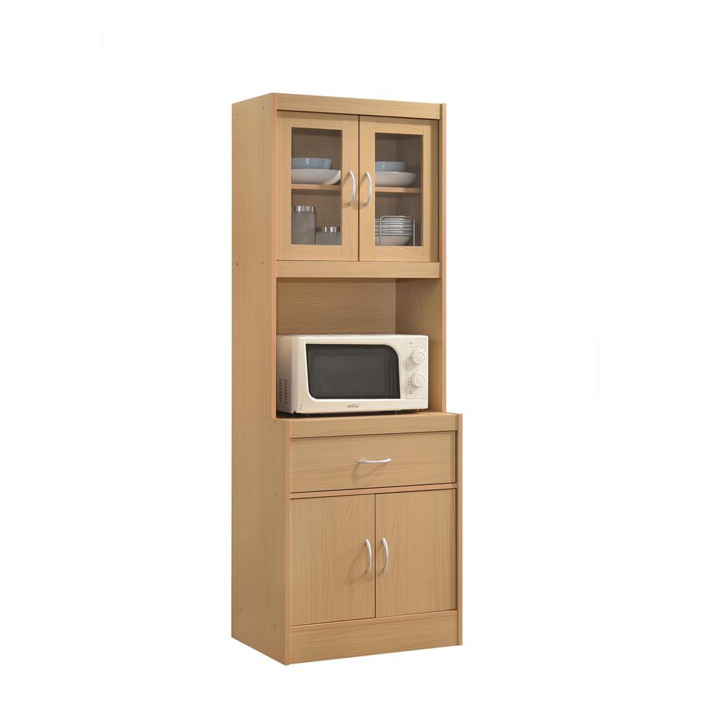 China Cabinet Beech With Microwave Shelf