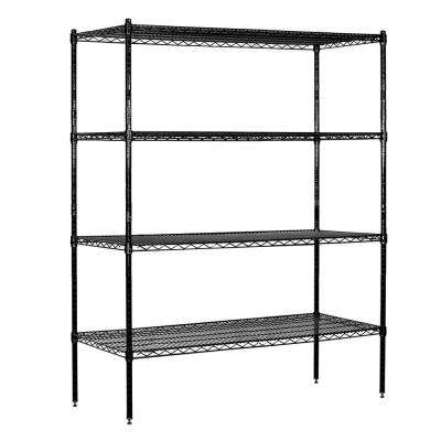 9600S Series 60 in. W x 74 in. H x 18 in. D Industrial Grade Welded Wire Stationary Wire Shelving in Black