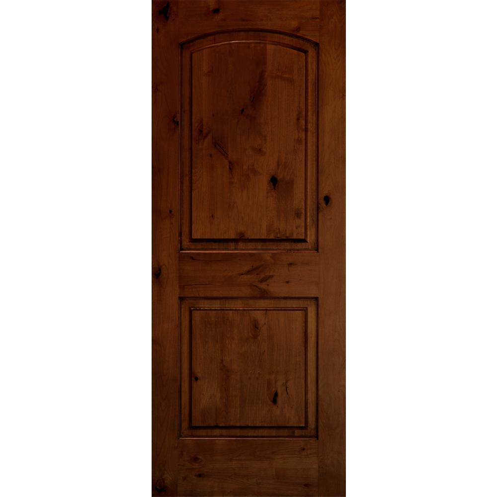 Krosswood Doors Rustic Arch Top Red Chestnut Stain Wood Single Front Door