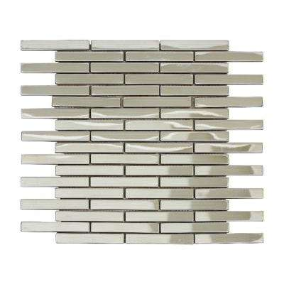 Ariya/02, Interlocking 12 in. x 12 in. x 8 mm Shiny Metal Mesh-Mounted Mosaic Tile (10 sq. ft. / case)