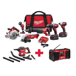 Milwaukee M18 18-Volt Lithium-Ion Cordless Combo Kit (6-Tool) with Free M18 Vacuum and M18 Radio by Milwaukee