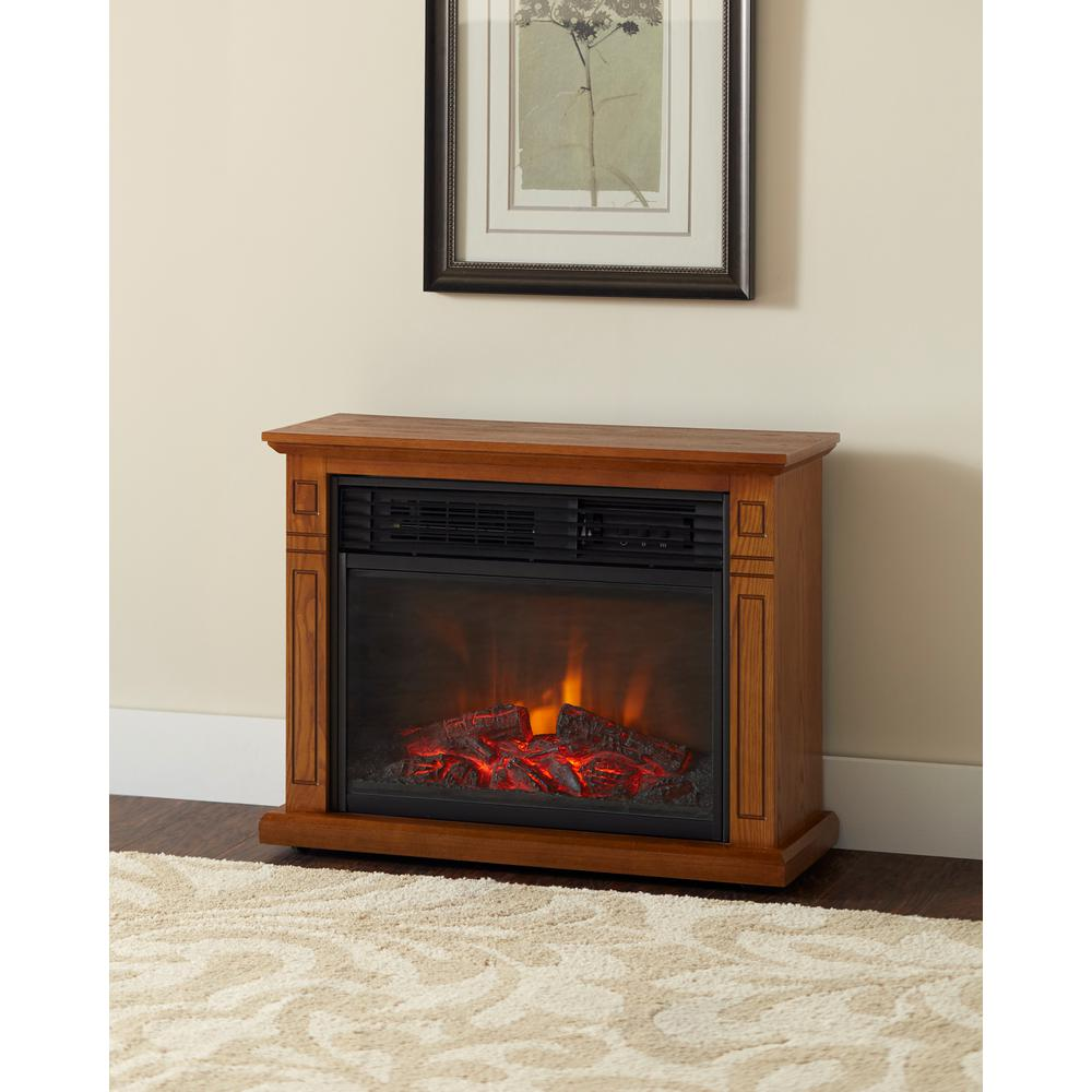 Make an elegant statement to any room by adding this Hampton Bay Cedarstone Element Infrared Electric Fireplace in Black.