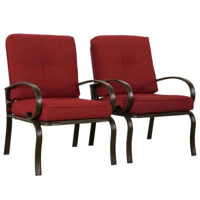 Leonard Brown Steel Outdoor Dining Chairs with Red Cushions (Set of 2)