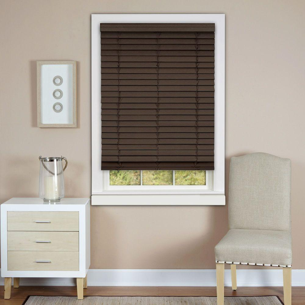 Achim Mahogany Cordless 2 in. Faux Wood Madera Falsa Plantation Blind - 23 in. W x 64 in. L (Actual Size 22.5 in. W 64 in. L )