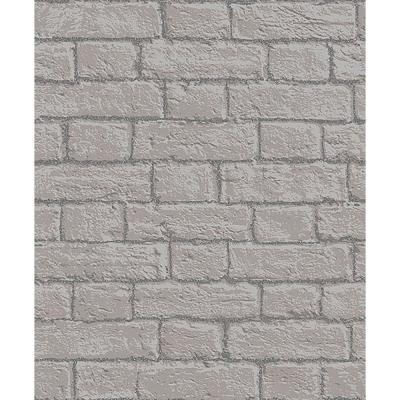 56.4 sq. ft. Gordon Grey Painted Brick Wallpaper