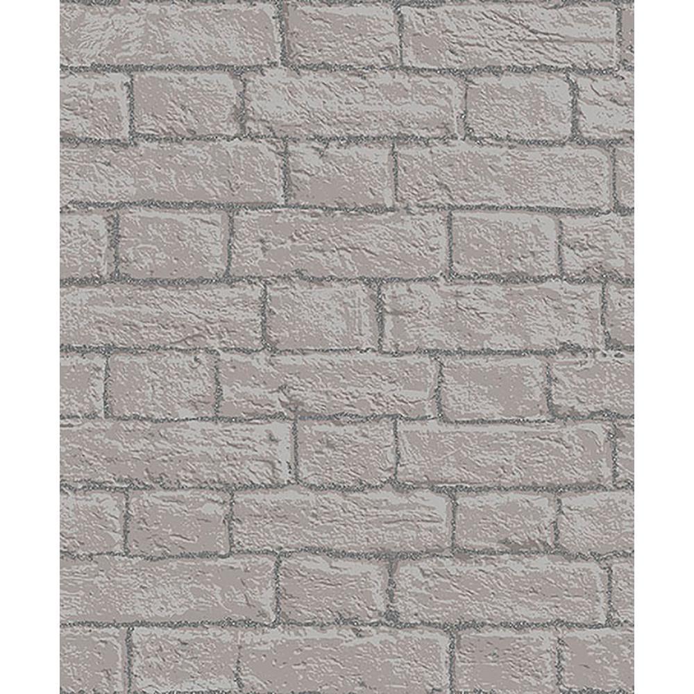 56.4 sq. ft. Gordon Grey Painted Brick Wallpaper