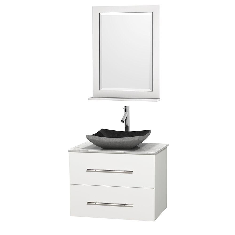 Wyndham Collection Centra 30 in. Vanity in White with Marble Vanity Top in Carrara White, Black Granite Sink and 24 in. Mirror