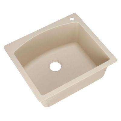 Diamond Dual Mount Granite Composite 25 in. 1-Hole Single Bowl Kitchen Sink in Biscotti