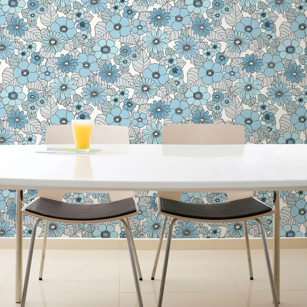 Capriana Light Blue Floral Burst Wallpaper Sample
