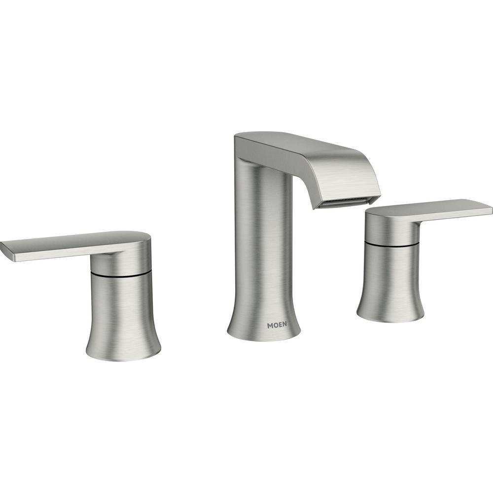 Moen Genta 8 In Widespread 2 Handle, Bathroom Faucets Widespread Brushed Nickel